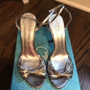 Silver and Gold strapped heels 2.5 inches high